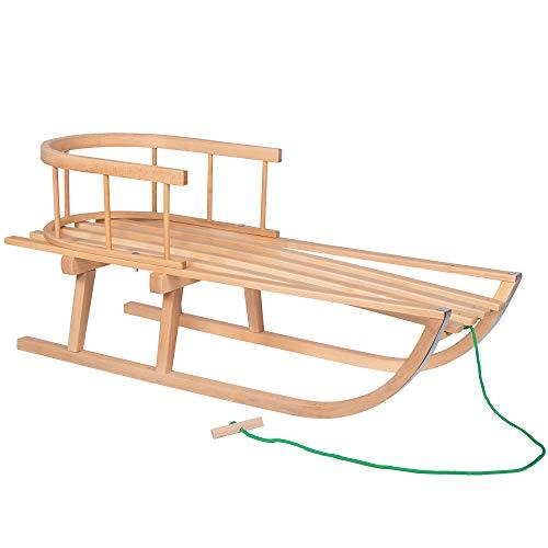 SPRINGOS Holzschlitten|Schlitten|90x32 cm|Rodel|Kinderschlitten|Rückenlehne|Schlittlehne|Zugseil|Buchenholz|Winter|Schnee|Schneespaß|Ferien|Rodelspaß|Rodelpiste|Sicherheit|Stabilität