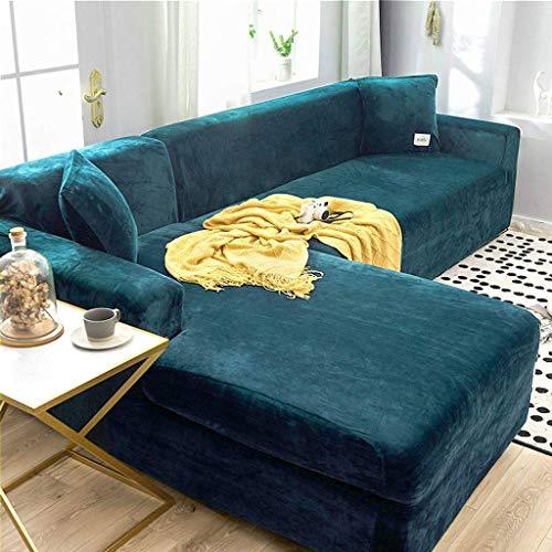 Jonist Dicke Sofabezüge 1/2/3 Sitzer Samt L-Form Sofa Schonbezug Easy Fit Stretch Elastischer Stoff Sofa Couch Möbel Protector-3-Sitzer (190-230 cm) -Lake blau