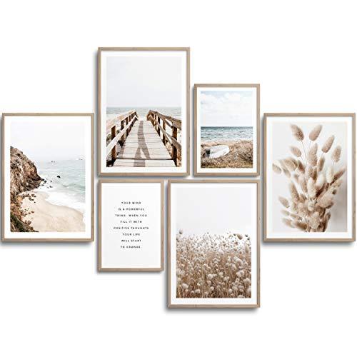 MONOKO® Moderne Poster Set - Bilder Wohnzimmer Deko Schlafzimmer - Stilvolle Wandbilder - 6er Set ohne Rahmen (Set Beige, Pampasgras, Meer, 4X A4   2X A5)