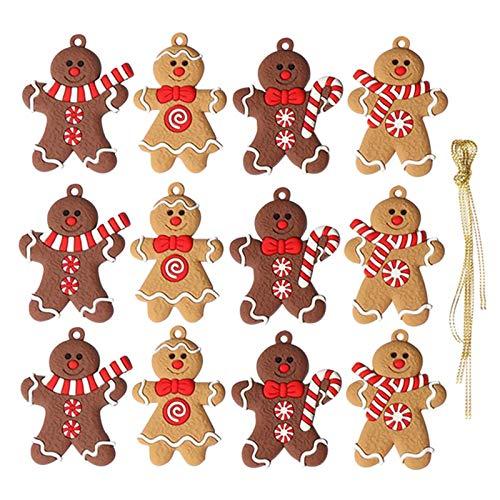 Elionless Weihnachtsbaumschmuck, 12 Stück, traditioneller Ingwer Mann, Weihnachtsbaumschmuck zum Aufhängen, Charms (Lebmann B)