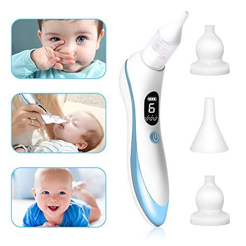 Nasensauger Baby, Nasensauger Baby Elektrisch mit 6 Einstellbaren Saugstufen und 4 Silikonspitzen, Nasensauger Baby Staubsauger mit USB-Aufladung für Neugeborene und Kleinkinder