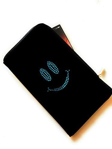 Reissverschluss Handytasche Softcase schwarz mit Strass Motiv Blue Smile geeignet für Apple iPhone 12/12 Pro - Handy Schutz Hülle Slim Case Cover Etui Tasche
