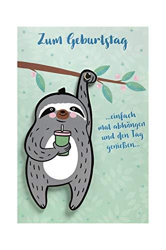 BSB Lustige Geburtstagskarte Geburtstagsgrüße Geburtstagswünsche - Moving Cards - Faultier - Umschlag rosa, 641006-2, Weiß