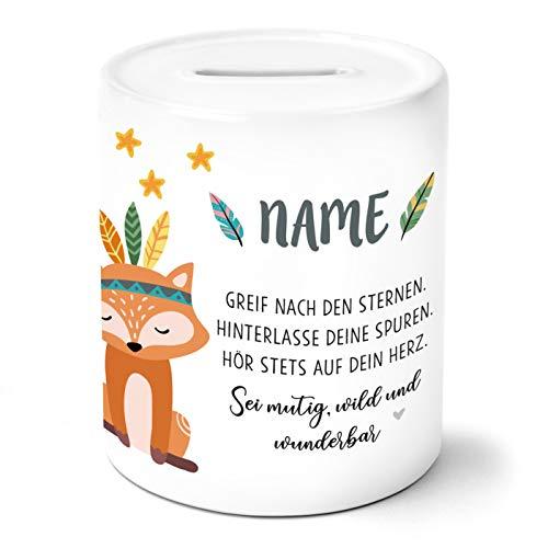 Boho Fuchs Kinder Spardose Personalisiert mit Namen Geschenke Geschenkideen für Mädchen zum Geburtstag Einschulung Taufe Geburt Sparschwein
