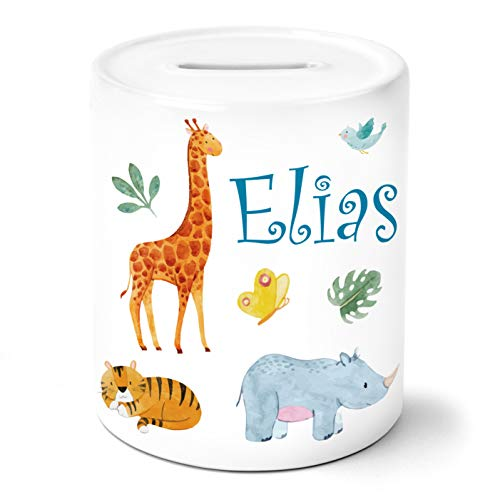 Safari Tiere Kinder Spardose Personalisiert mit Namen Geschenke Geschenkideen für Kinder Baby Junge Mädchen zum Geburtstag Einschulung Taufe Geburt Sparschwein