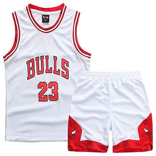 GAOZI Kleine Jungen Basketball Trikot Bulls 23# Jordan Basketball Trainings Ärmellos Trikot und Hose