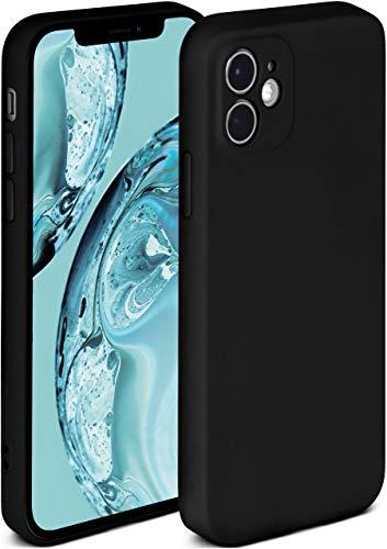 ONEFLOW Soft Case kompatibel mit iPhone 12 Mini Hülle aus Silikon, erhöhte Kante für Bildschirmschutz, zweilagig, weiche Handyhülle - matt Schwarz