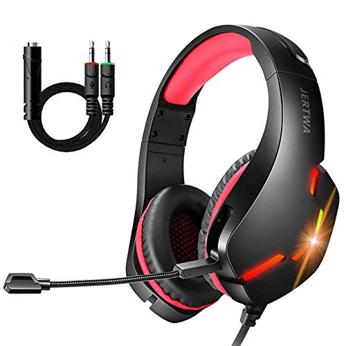 Gaming Headset für PS4, PC, LED Light, Crystal Clarity Sound, Professional Surround Sound Wired Gaming Headphone With Adjustable Microphone für Laptop, Mac, Mobile Phone, Tablet