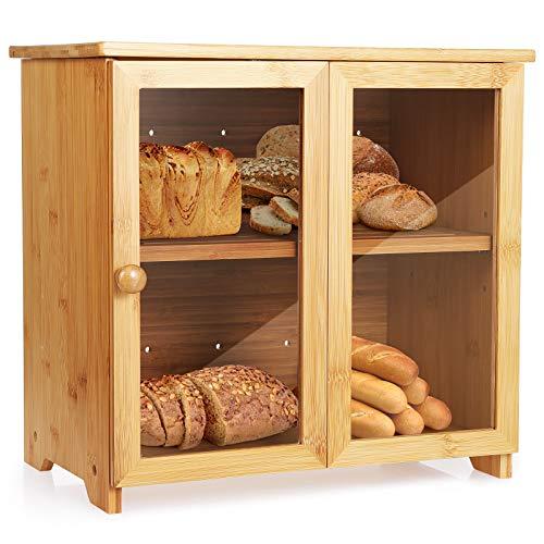 Tobeelec Bambus Brotkasten für Küchenarbeitsplatte, Brotaufbewahrungsbehälter mit verstellbarem Stauraum und Tür, einfache Selbstmontage (Groß 36x22x32cm)