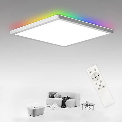 SHILOOK LED Deckenleuchte Flach Dimmbar mit Fernbedienung, 24W Deckenlampe RGB Farbwechsel Quadratisch für Schlafzimmer/Wohnzimmer/Badezimmer/Flur/Küche/Keller, IP44 Wasserdicht, Ultradünn Weiss