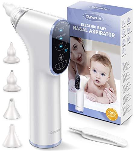 Nasensauger Baby Elektrisch, DynaBliss Nasensaug Baby Staubsaug USB Aufladen Medizinisches Silikon mit 3 Saugstärken Tragbar Nasensauger(Blau)