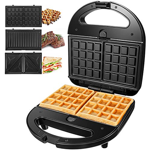 Sandwichmaker 3 in 1 (Sandwichtoaster, Kontaktgrill, Waffeleisen) OSTBA, Antihaftbeschichtete abnehmbare Platten, Cool Touch Griffe,750 W, LED-Anzeigen, BPA frei, schwarz