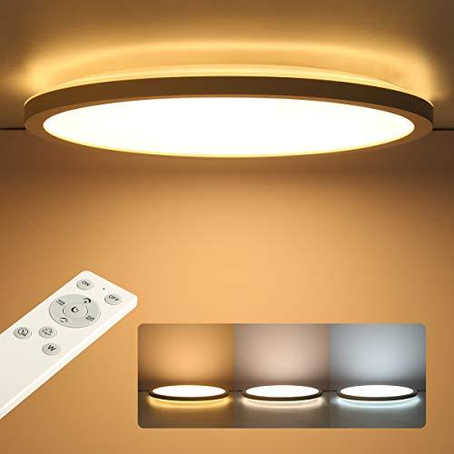 Led Deckenleuchte Flach Dimmbar mit Fernbedienung, Deckenlampe Panel Rund 24W 2400LM IP44 2.5cm Ultra Dünn, 30x30cm Weiß für Schlafzimmer/ Badezimmer/ Kinderzimmer/ Flur