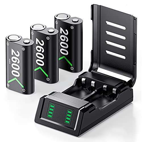 VOYEE Controller Akku kompatibel mit Xbox One Controller Akku, mit 3x2600 mAh Akku, Ladegeräte kompatibel mit Xbox One/X/S/Elite/Xbox Series X/S Controller Akku