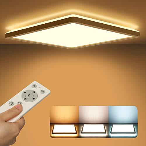 Led Deckenleuchte Panel Dimmbar mit Fernbedienung, Deckenlampe Flach 24W 2400LM IP44 2.5cm Ultra Dünn, 30x30cm Weiß für Schlafzimmer/ Badezimmer/ Kinderzimmer/ Flur