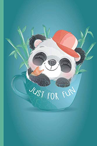 """Cute Little Panda wearing a cap with bamboo and butterfly insude a cup Just For fun: Notebook and Journal to Write in   Lined White Paper/ Personal ... Travel Book   6 x 9\""""   110 Pages   Ideal Gift"""