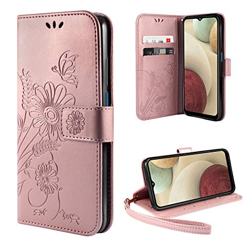 ivencase Handyhülle Kompatibel mit Samsung Galaxy A12 / M12 Hülle Flip Lederhülle, Handyhülle Book Case PU Leder Tasche Case und Magnet Kartenfach Schutzhülle - Goldrose