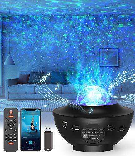 LED-Sternenhimmel Projektor,Rotierendes WasserwellenproJektorlicht,Ferngesteuertes Nachtlicht,Farbwechselnder Musikplayer mit Bluetooth,Geeignet für Kinder/Zuhause/Valentinstag Geschenke