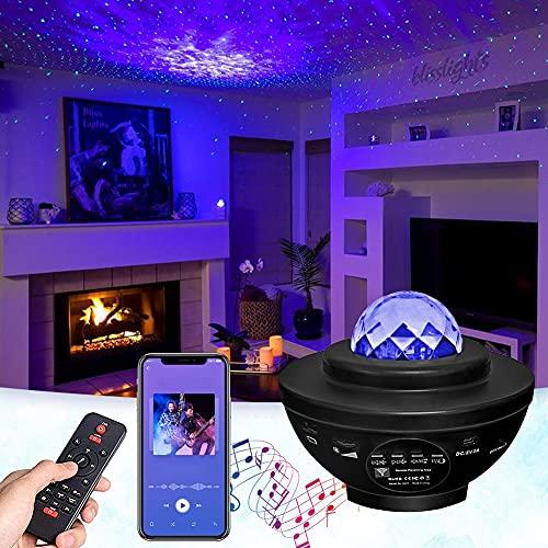 GOHYO Stimmungslicht, LED Sternenhimmel Projektor Sternenprojektor mit Musik Player und Timer, Fernbedienung Bluetooth Sky Lite Sternenlampe Sternenhimmel, Dekoration für Schlafzimmer, Kinder, Freunde