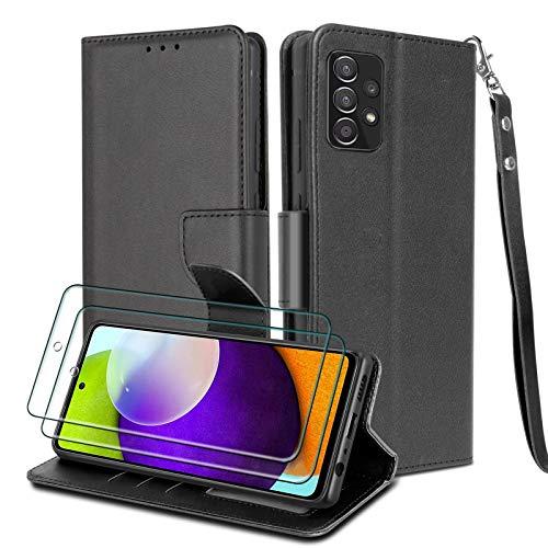 WuGlrz Handyhülle für Samsung Galaxy A52 4G&5G mit 2 Stück Panzerglas Schutzfolie, Luxus PU Leder Brieftasche Hülle mit Clip Lanyard Magnetisch Flip Schutzhülle -Schwarz