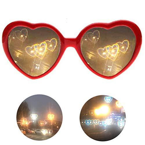 Naponior 1 Stück Herzform 3D Spezialeffekt Brille Graue Brille Linse mit wechselnden Lichtern auf Herzform Spezialeffekt Schönes Geschenk mit optionaler Farbe