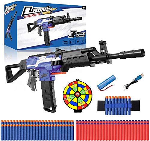 Elektrische Spielzeug Pistole mit 12 Clip Magazin, Automatische Nerf Blaster mit 100 Munition, Zielscheibe, USB Aufladbare Batterie, 3 Modi Schuss, Kinder Gewehr Geschenk Junge Jungendliche Erwachsene