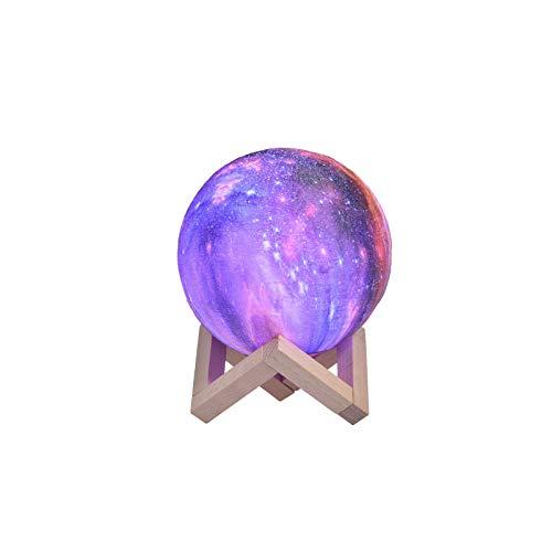 Mondlampe 3D Nachtlicht Dimmbar, Papasbox 15cm LED Sternenhimmel Nachtlampe Mond Lampe mit Fernbedienung, 16 RGB Farben Touch Mondlicht USB Aufladung Tragbares Stimmungslicht mit Holzgestell