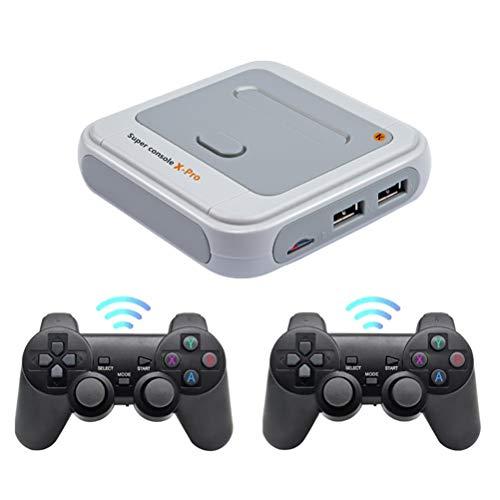 Super Console X Pro Retro-Arcade-Spielekonsole, kabelloses Mini-WiFi-4K-HDMI-TV-Videospiel mit über 30000 Spielen, Retro-Spielekonsole mit 2-teiligem kabellosen Joystick S905X-Chip, duales System in