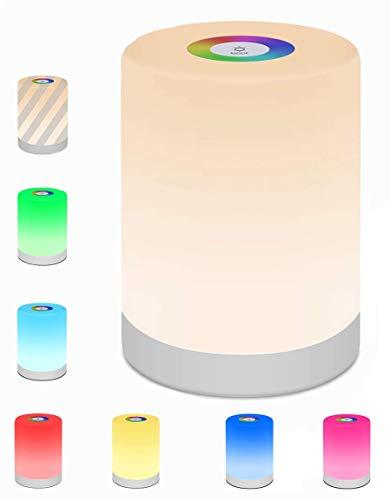 LED Nachttischlamp,swonuk LED Smart NachtLicht Dimmbar Tragbares Nachtlicht mit RGB Farbwechsel Stimmungslicht Schreibtischlampe für Schlafzimmer/Kinderzimmer/Camping