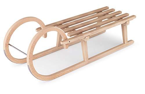 Generisch Holzschlitten 100cm von Flyeralarm - Schlitten aus Holz (Buche) mit Hörnern - Hörnerschlitten zum Rodeln für Kinder