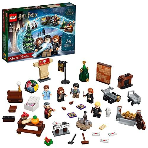 LEGO 76390 Harry Potter Adventskalender 2021 Spielzeugset, Weihnachtsgeschenk für Kinder ab 7 Jahren mit 6 Minifiguren und Spielbrett