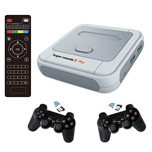 Ysimee 2.4G Super X-Videospielkonsole Eingebaut in über 41.000 AVG-Abenteuerspielen, klassische Spielekonsole mit 2 Gamepads, Videospielkonsole für 4K-TV-Unterstützung HDMI / AV-Ausgang