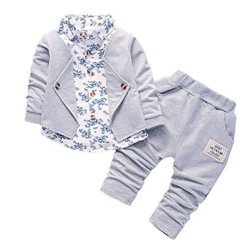 Kobay Kleinkind Baby Boy Style Brief Drucken Hood Tops Muster Hosen 2 STÜCKE Set Kleidung (80, Grau-3)