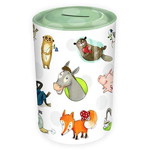Spardose Kinder Freche Tiere aus Blech   Sparschwein Blechdose für Mädchen oder Jungen   Schöne Geschenkidee für Geburtstag, Einschulung und andere Anlässe