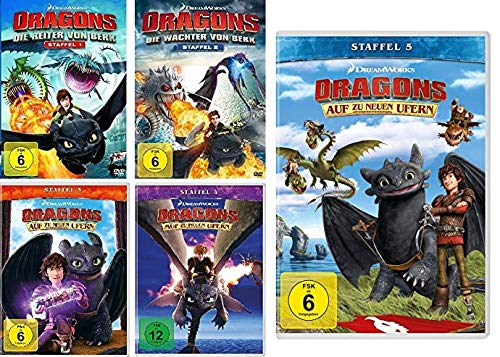 Dragons - Die Reiter/Wächter von Berk + Auf zu neuen Ufern - Staffel 1 - 5 im Set - Deutsche Originalware [20 DVDs]