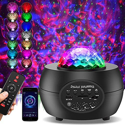 LED Sternenhimmel Projektor Lampe, 30 Modi Sternenprojektor Nachtlicht Sternenhimmel mit 360°Drehen, Bluetooth Musikspieler Sternhimmel Protektor, Fernbedienung, Timer für Kinder Erwachsene Party Deko