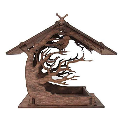 Vogelfutterhaus Holzhaus Handarbeit aus Natur-Holz für Gartenvögel wetterfest, naturbelassen | Vogelhaus zum Aufhängen im Garten und Balkon Hof Villa Balkon Vogelhäuschen
