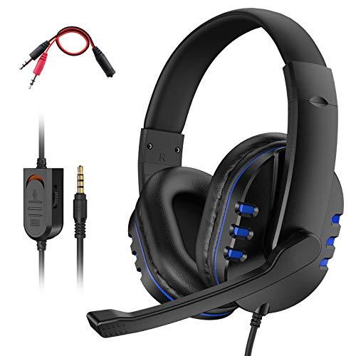 Dhaose Gaming Headset für PS4 Xbox One, Geräuschunterdrückung Gaming Kopfhörer mit Mikrofon, 3.5mm Surround Sound, für PC/PS4/Xbox One/Nintendo Switch/Mac/Laptop/Mobile Phones (Blau)