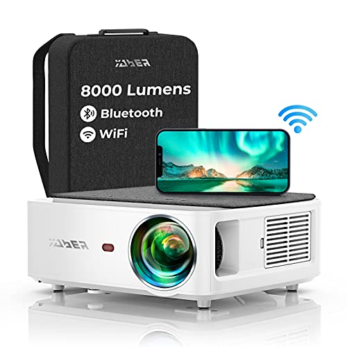 YABER WiFi Bluetooth 5G Beamer 8000 Lumen Full HD 1080P Heimkino Beamer, mit 4-Punkt Trapezkorrektur, Support 4k&50{6047d6c5bda8635a56548404feb0b07863310d3f4bc7ad174017db4a6c6ecac8} Zoom,PPT Präsentation Beamer kompatibel mit iOS /Android/PC/Fire Stick Projektor