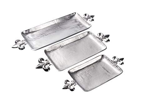 Tablett Lilie - Servierbrett Servierplatte Aluminium Silber - Serviertablett aus Metall - Silbertablett - Dekotablett - 48 cm, 60 cm oder 72 cm (48x22x5 cm)