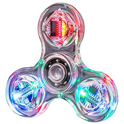 Gazaar LED Fidget Spinner Spielzeug Clear LED Light Up Fidget Finger Würfel Angst Stress Relief EDC Spielzeug für Kinder und Erwachsene