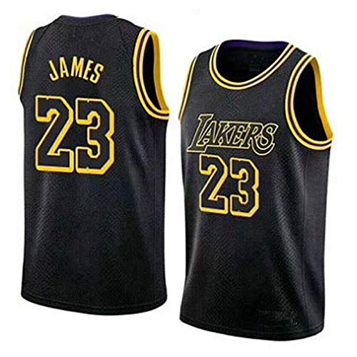 TINKOU Herren Basketball Uniformen, 23 NBA Lakers Stickerei Basketball Trikots Lose atmungsaktive Tops Freizeitwesten Ärmellose T-Shirts,Schwarz,M