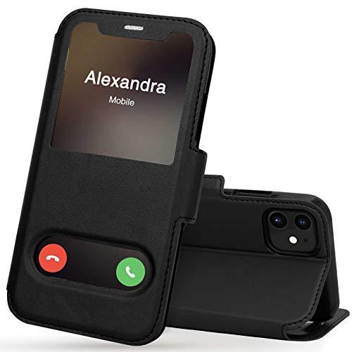 FYY iPhone 11 Handyhülle,iPhone 11 Hülle 2019,Premium PU Lederhülle Flip Leder Handytasche mit [View-Fenster]und Magnetverschluss für Apple iPhone 11 6.1\'\' Tasche,Schwarz