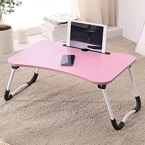 KJ Laptop Tisch fürs Bett, Bett tabletttisch,tragbarer Schoßtisch zum Frühstück, klappbare Bücherregalbeine, Laptoptisch für Arbeitszimmer und Büro,Notebookständer mit Tablet-Steckplatz,Rosa