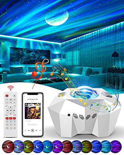 Sternenhimmel Projektor Kinder Nachtlicht, Audor 3D LED Sternenlicht Projektor Aurora-Effekt Stimmungslicht mit Bluetooth Musikplayer Timer Geschenke für Frauen Weihnachten Zimmer Deko Party -Weiß