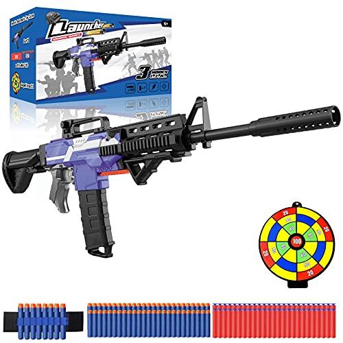 Elektrische Spielzeug Pistole mit 12 Clip Magazin, Automatische M416 Blaster groß mit 100 Nerf Darts, 3 Modi Schuss USB Aufladbare Kinder Gewehr, Outdoor Spiel Geschenk Junge Jungendliche Erwachsene