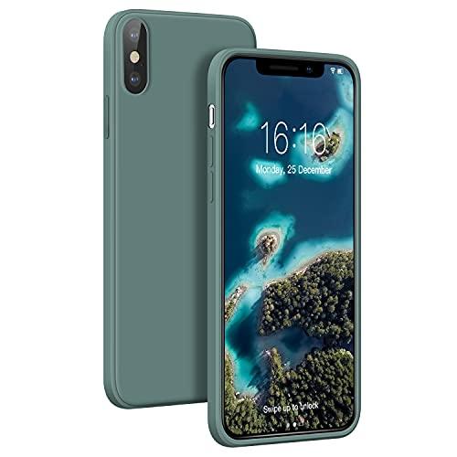 JASBON Ultra-Thin Hülle Kompatibel mit iPhone X/XS, Lightweight Liquid Silikon Hülle,Stoßfeste Full Protection Case, Resistant Slim Handyhülle für iPhone X/XS 5.8 inch(Green)