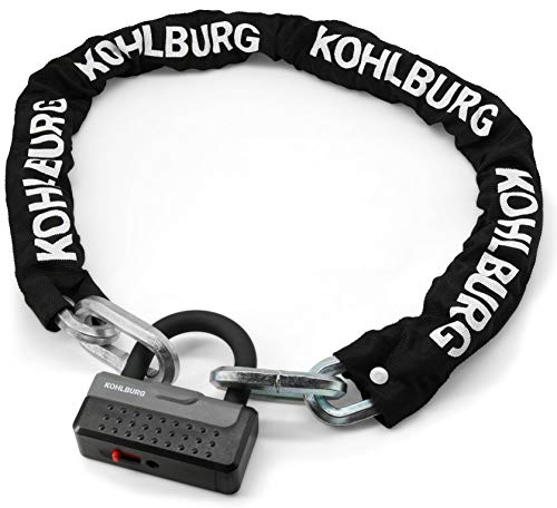 KOHLBURG massives Kettenschloss 115cm lang & 12mm stark mit höchster Sicherheitsstufe 10/10 - Schloss für Motorrad Moped E-Bike & hochwertiges Fahrrad - sicheres Motorradschloss - Security Lock