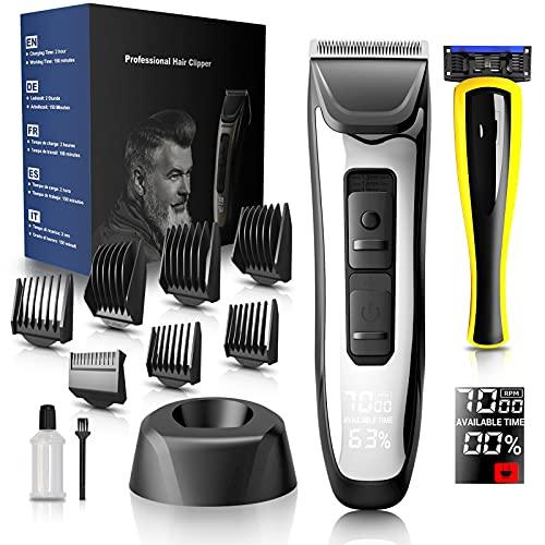 Haarschneidemaschine Profi, Barttrimmer Herren 10-in-1-Rasierer und Haarschneider, Bartschneider mit 7 Aufsteckkämme 4 Stufen Einstellbar und LED-Anzeige, Wireless