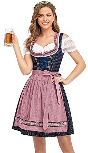 BENNIES Dirndl Damen midi Trachtenkleid Damen Trachtenrock Trachtenmode Kleid Dirndlbluse für Oktoberfest Rosa 36